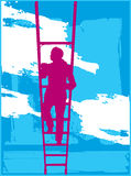 Climbing To Heaven. A Woman Climbing A Ladder To Heaven Royalty Free Stock Image