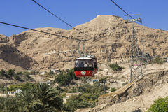 Climbing to the monastery of the Temptation on the mountain, Carental, Jericho, Judean desert. The Palestinian authority Royalty Free Stock Photos