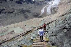 Climbing to the Pasterze glacier Royalty Free Stock Photography