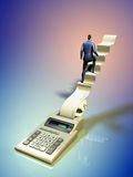 Climbing to success. Businessman climbing some stairs coming out of a printer calculator. Digital illustration Royalty Free Stock Photo