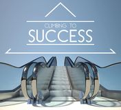 Climbing to success concept with stairway Royalty Free Stock Photo
