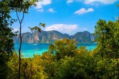Climbing on top of Ko Phi Phi, Thailand Stock Photos