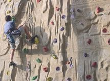 Climbing training. A boy making climbing training Stock Images