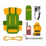 Climbing trekking equipment vector set. Stock Images