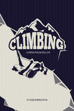 Climbing, trekking, hiking, mountaineering vector background. Poster template stock illustration