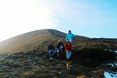Climbing. Ukrainian youngsters decided to travel through the west of Ukraine. Highest point of country- Hoverla. 2061m Royalty Free Stock Photos