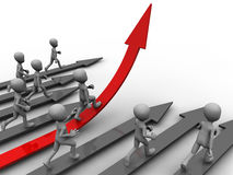 Climbing up. Cartoon like figure illustrating a successful personal development Stock Images