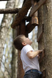 Climbing up. Boy in white shirt climbing on ladder in forest Royalty Free Stock Image