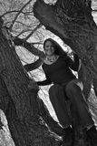 Climbing up for a better view. Young woman sitting in tree Stock Photography