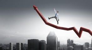 Climbing up to success. Mixed media Stock Photo