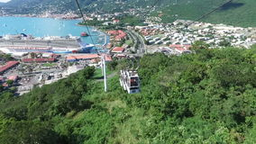 Climbing up via cable car and view of the Saint Thomas,Saint Thomas, U.S. Virgin Islands. 1st of December, 2016 stock video