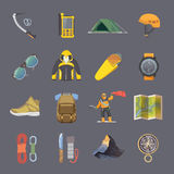 Climbing vector flat icons Stock Image