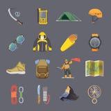 Climbing vector flat icons Stock Image