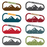 Climbing vector illustration set  mountains and carabiner Stock Photos