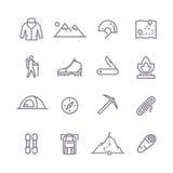 Climbing vector line icons Royalty Free Stock Photos