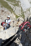 Climbing on Via Ferrata Royalty Free Stock Images