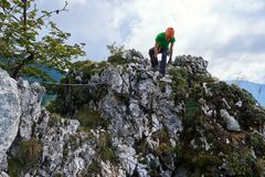 Climbing on via ferrata Stock Photography