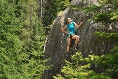Climbing in via ferrata Royalty Free Stock Photography
