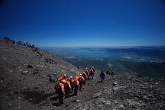 Climbing on the Villarica volcano royalty free stock photos