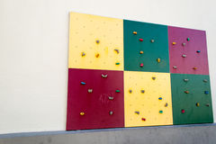 Climbing wall - angle 1. A small climbing wall at Roedsberg middle school Royalty Free Stock Photo
