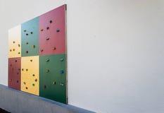 Climbing wall - angle 2. A small climbing wall at Roedsberg middle school Stock Photo
