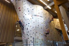 Climbing Wall in Canmore Elevation Place Recreation Facility Royalty Free Stock Images