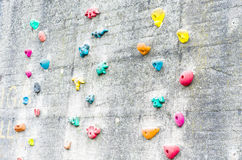 Climbing wall with climbing aids Royalty Free Stock Images