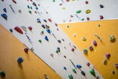 Climbing Wall. Climbing wall with colorful rocks Royalty Free Stock Photography