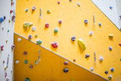 Climbing Wall. Climbing wall with colorful rocks Royalty Free Stock Photos