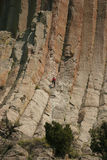 Climbing the wall from Devils Tower Royalty Free Stock Images