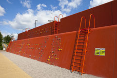Climbing Wall in the Queen Elizabeth Olympic Park. LONDON, UK - MAY 15TH 2014: A climbing wall located in the Queen Elizabeth Olympic Park in Stratford, London Stock Images