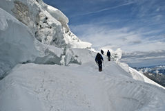 Climbing weissmies. Big serac on trift glacier Royalty Free Stock Photos