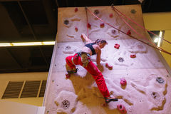 Climbing woman Royalty Free Stock Images