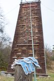Climbing wood wall at safety adventure park Stock Photos