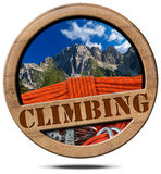 Climbing - Wooden Symbol with Peak Royalty Free Stock Photography
