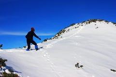 Climbng da jovem mulher acima da montanha em montanhas de Retezat, Romênia Imagem de Stock