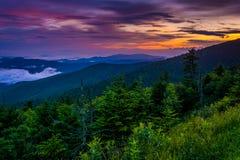从Clingman的圆顶,大烟山国家公园的日落 免版税库存照片