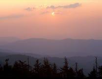 从Clingman ` s圆顶,大烟山国家公园,北卡罗来纳的日落 免版税图库摄影