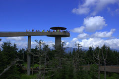 Clingmans Dome, wide view. Clingmans Dome- highest point in the Great Smoky Mountains National Park as seen in summer while tourists visit royalty free stock image