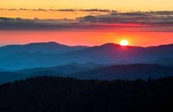 Clingmans圆顶大烟山国家公园风景日落 免版税库存照片