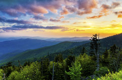 Clingmans Dome, Great Smoky Mountains, tennessee. Sunset over the Appalachain Mountains from Clingmans Dome in the Great Smoky Mountain National Park Stock Photos