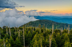 Clingmans Dome, Great Smoky Mountains, tennessee. Sunset over the Appalachain Mountains from Clingmans Dome in the Great Smoky Mountain National Park Royalty Free Stock Photos