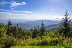 Clingmans Dome Summit. View from the summit of Clingmans Dome over layers of the Blue Ridge Mountains. At over 6000 ft above sea level this is the highest point stock photo