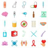 Clinic icons set, cartoon style Royalty Free Stock Images