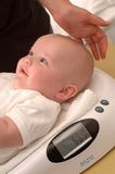 Clinic nurse weighing a baby Stock Photography