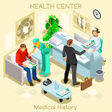 Clinic patient medical history waiting room before medical visit. Hospital clinic reception patients waiting medical consult. Healthcare 3D flat isometric Royalty Free Stock Photography