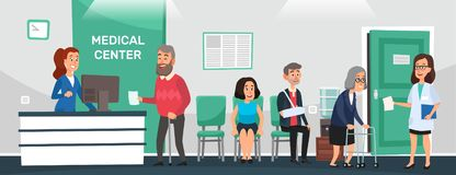 Clinic reception. Hospital patients, doctor waiting room and people wait doctors medical care cartoon vector. Clinic reception. Hospital patients, doctor waiting stock illustration