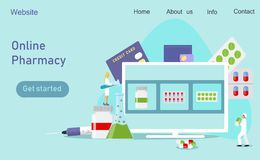 Clinical center, online pharmacy stock illustration