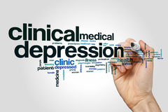Clinical depression word cloud. Concept royalty free stock photography