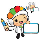 Clinical Dietitian Mascot hand is holding a board and Pencil. Wo Royalty Free Stock Photography
